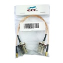 A pair of straight MCX Male to N Bulkhead Female gold cable assembly