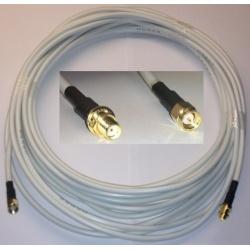 6 Meter Universalkabel SMA-Stecker auf SMA Buchse RG58 - weiß