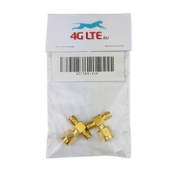 2xSMA Male to 2 x SMA Female Adapter (Golden)