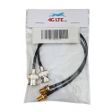 A pair of BNC Male to SMA Female black cable assembly