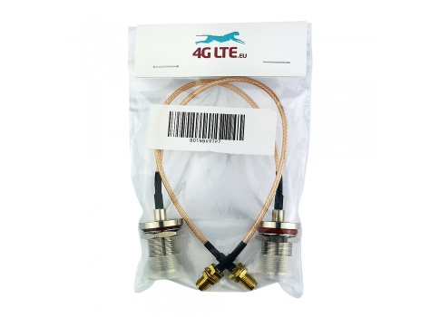 A pair of N Bulkhead Female to RP SMA Female cable assembly
